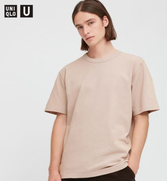 Uniclo's gender-neutral outfit wearing a tunnel t-shirt.