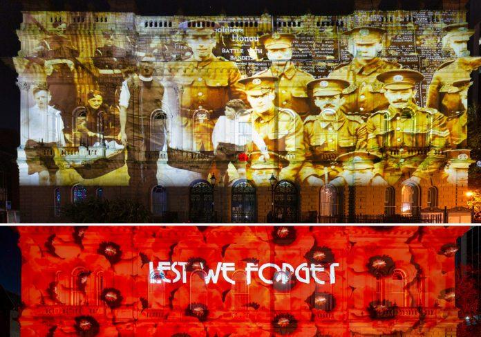 Town hall light displays honor war heroes