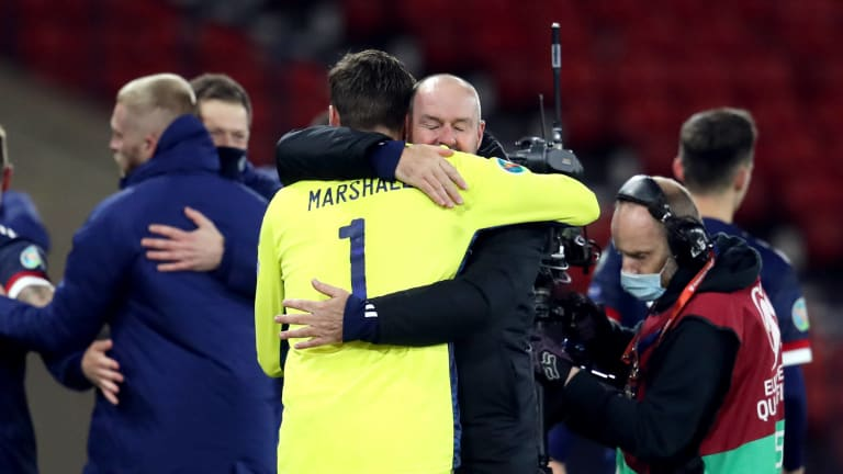 Hampden Park Scotland manager Steve Clarke congratulated goalkeeper David Marshall after Hampden Glasgow's victory in a penalty shoot-out during the UAFA Euro 2020 play-off semi-final match.