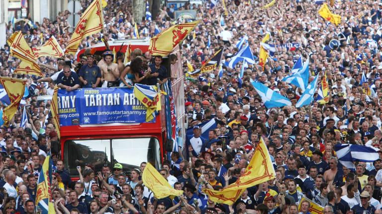 Scottish fans march through Paris.