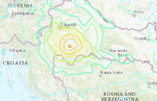 Earthquake map published by the American Institute of Geophysics, USGS.