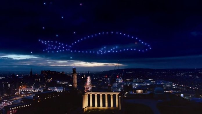 Dazzling images of a 150 drone ballet in the skies of Edinburgh, Scotland