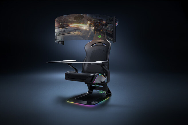Razor's gaming chair with a 60-inch flip-out screen and haptic feedback on the seat