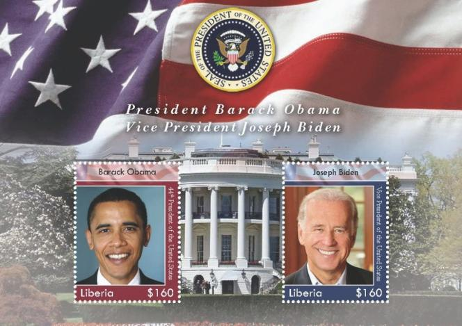 Liberia stamped the 2008 souvenir sheet for Obama President and his Vice President Joe Biden.
