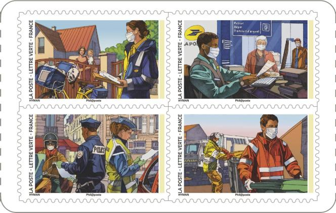 Four out of twelve stamps in the booklet were engaged to thank and honor the heroes everyday during the health crisis.  General sale on September 14, 2020.  Created by: Miles Hyman.  Circulation: 2.5 million copies.