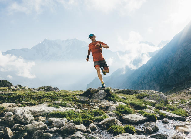 Ultra-long runner James Norokiev in action on Monte Rosa in Alto.