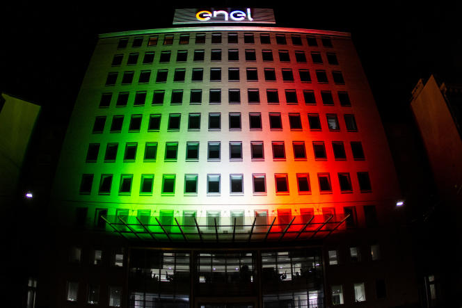 In front of the Italian company Enel's campus in Milan on May 3, 2020.