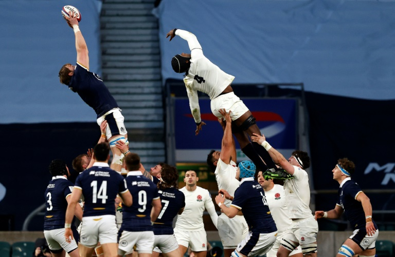 Scotland's second line Johnny Gray bowled a touchdown ball over England's counterpart Maro Itoje during their Six Nations match at Twainham on 6 February 2021.