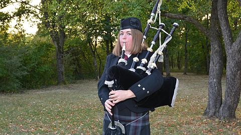 Close to the Scottish Highlands with the bagpipe