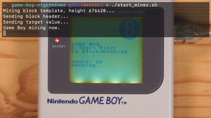 Nintendo Game Boy can be used to mine bitcoins