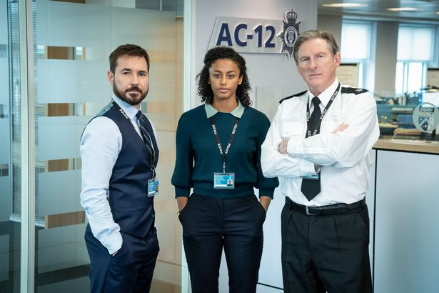 Steve Arnot as Martin (left) with Shalom Brune-Franklin as DC Chloe Bishop and Adrian Dunbar as Superintendent Ted Hastings
