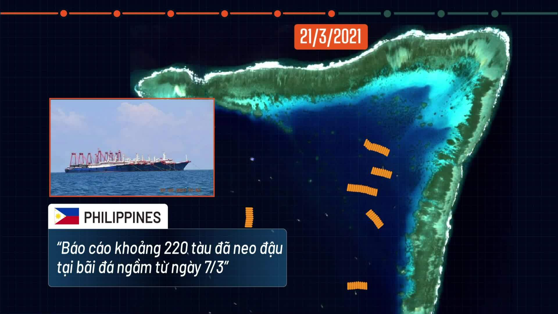 Three-week presence of more than 200 Chinese fishing vessels in the South China Sea