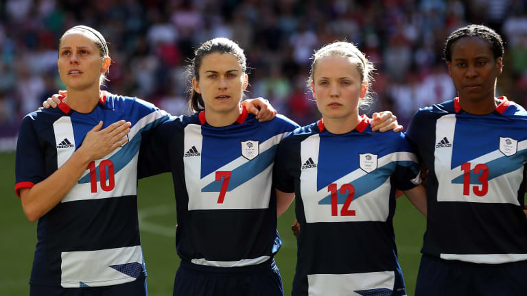 Kelly Smith of Great Britain, Karen Carney of Great Britain, Kim Little of Great Britain and Ifeoma Dyke of Great Britain line up