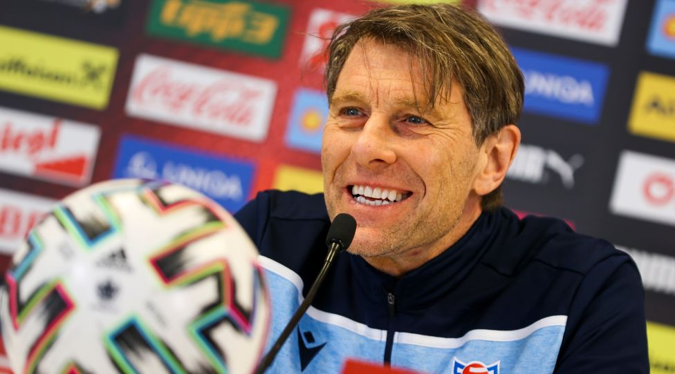 VIENNA, AUSTRIA, 27.MAR.21 - SOCCER - FIFA World Cup Qatar 2022, European Qualifier, OEFB International Match, Austria vs Faroe Islands, Preview, Press Conference Team FRO.  The figure shows the headcoach Hakanan (FRO).  Photo: Pictures of GEPA / Philip Brem