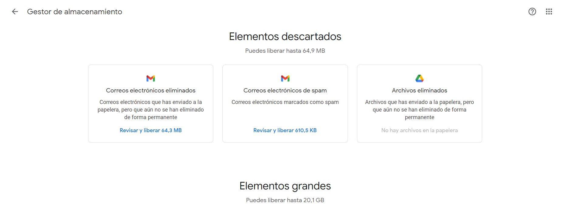 How this storage manager displays information in Google One
