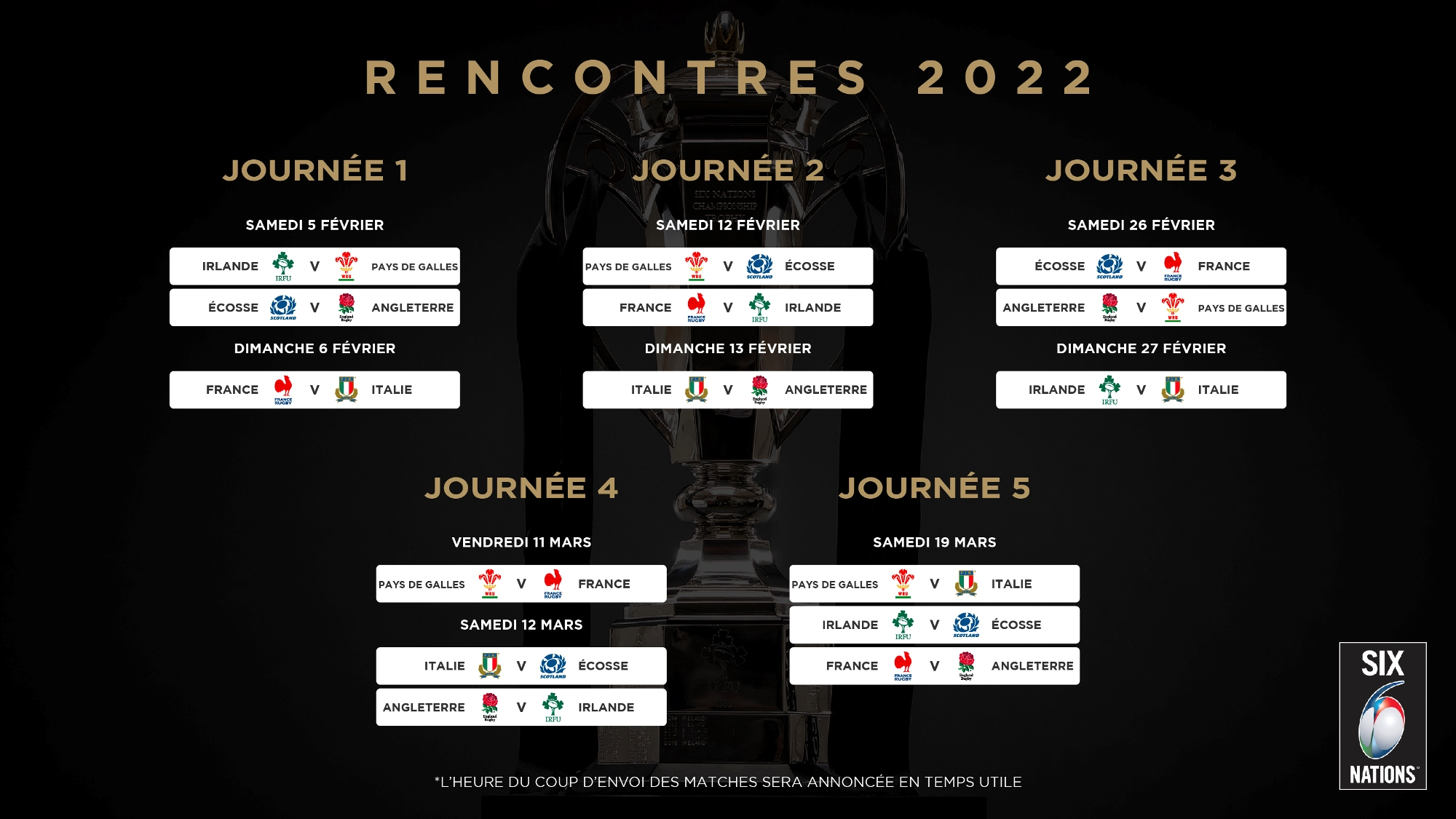 Can 2022 Calendrier Des Match Six nations rugby | 2022 Six Nations Tournament Schedule Unveiled