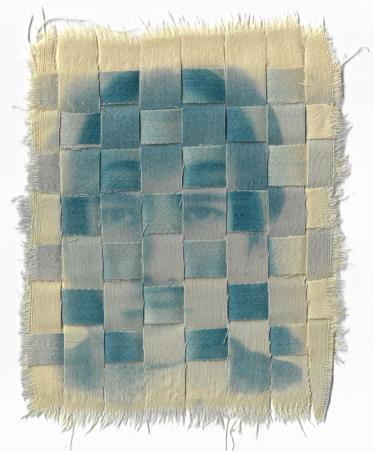 Using Deepfake, Connie Stewart tried to gain visual anonymity.  The pictures were printed on the embroidery.  The Connie Stewart Statue
