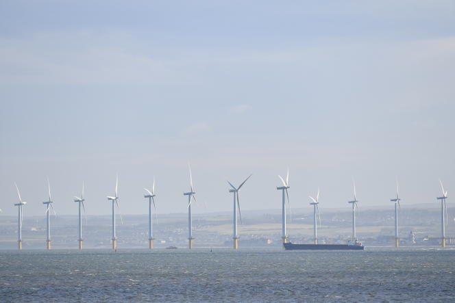 Off-noise wind turbine from Redcar in the north-east of England on November 11, 2019.