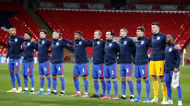 The England national team ahead of a World Cup qualifier against San Marino at Wembley Stadium on March 25, 2021.  (Source: Imago Images / PA Images)