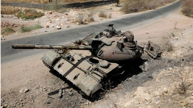 A photo from last March of a tank destroyed in the fighting between the Ethiopian government and the Tigrayan forces
