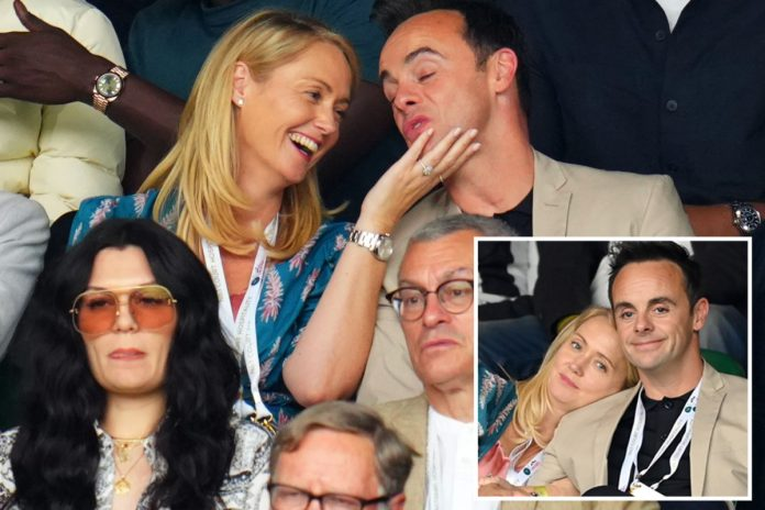 Ant McPartlin and Anne-Marie Corbett Look Great at the Wimbledon Stand as They Hide Behind Jessie J
