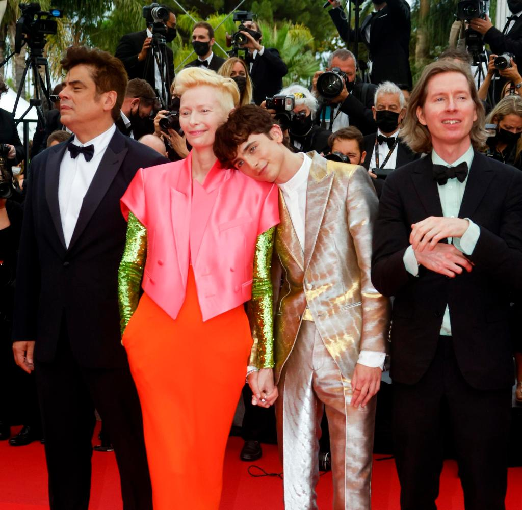 Tilda Swinton and Timothy Chalam at the Cannes Film Festival
