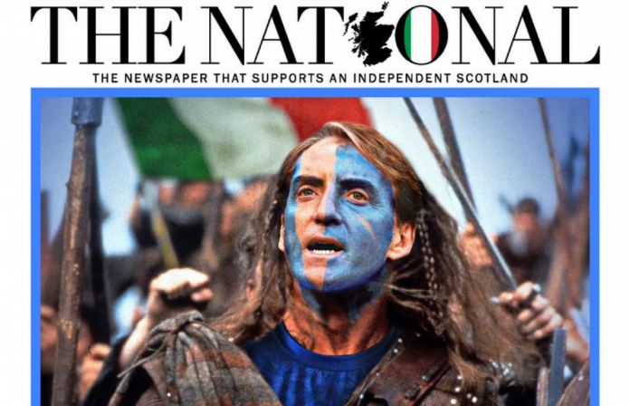 A Scottish newspaper reported Euro 2020.  I supported Italy against England