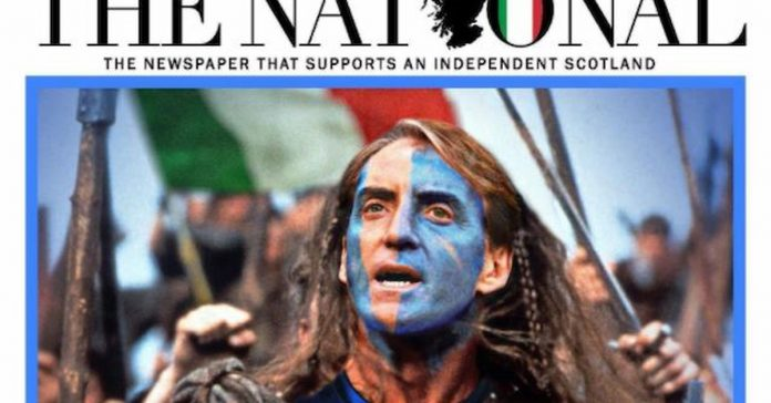 Scotland supports Italy.  Mancini as Braveheart: