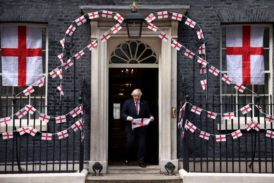 Downing Street adorns St George's Cross for European final