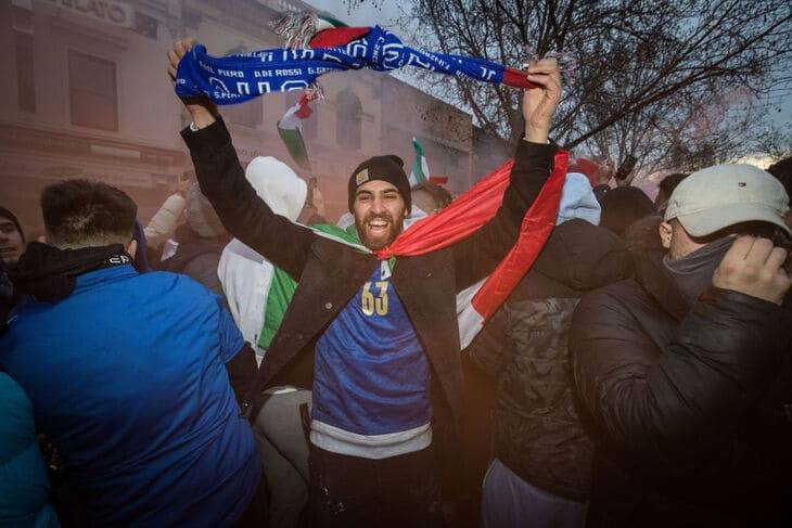 Celebration of Italy's victory in the world