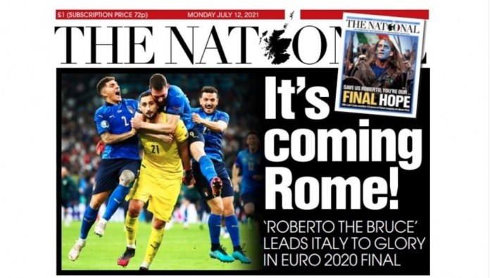'It's coming Rome': Scottish newspaper The National mocks the British (again)