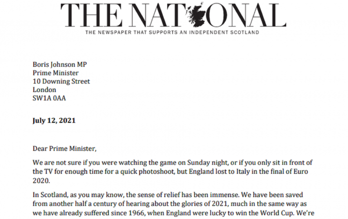 After Mancini Braveheart, letter to Johnson from Scottish newspaper: