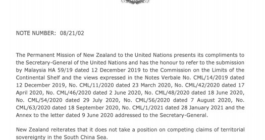 New Zealand sent a note on the East Sea to the United Nations.  World