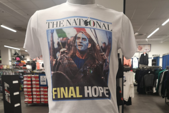 The front page of the Euro-Braveheart national team is seen on a shirt in an Italian store