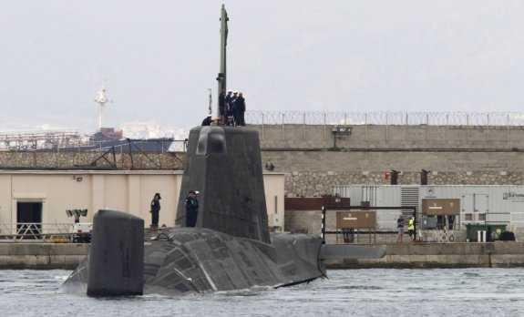 epa05447466 The British Royal Navy's nuclear-powered submarine HMS Ambush is seen in the port of Gibraltar before the departure of the UK ship, Gibraltar, 29 July 2016.  The ship remains in Gibralta