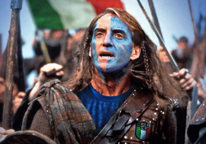 «Save us, Roberto»: on Mancini Scottish print in Braveheart style.  England-Italy as seen by tabloids
