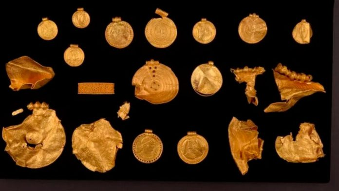 Denmark: An amateur archaeologist finds 22 pieces of gold from the 6th century.  They are related to the pre-Iking people who lived in that country.