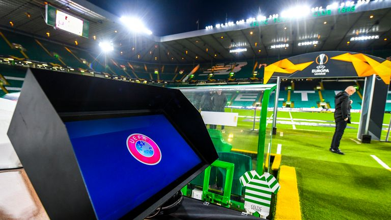 VAR Technology in the Europa League round of 16, the second leg between Celtic and FC Copenhagen at Celtic Park