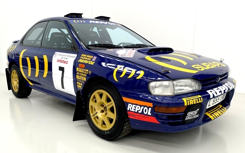 A Subaru Prodrive 555 driven by Colin McRae and Carlos Sainz was sold for half a million dollars in bitcoin at the 1994 Group A World Rally Championship (Image credit: Lloyds Auctions of Australia)